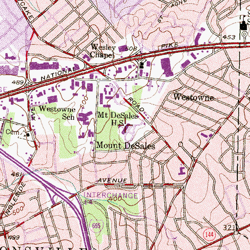 Topographic Map of Mount DeSales High School, MD