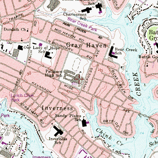 Topographic Map of Patapsco High School, MD