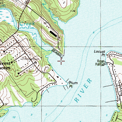 Topographic Map of Plum Creek, MD