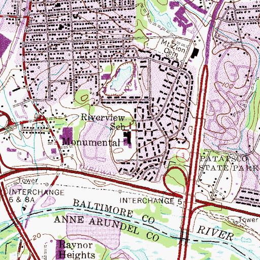 Topographic Map of Riverview Elementary School, MD