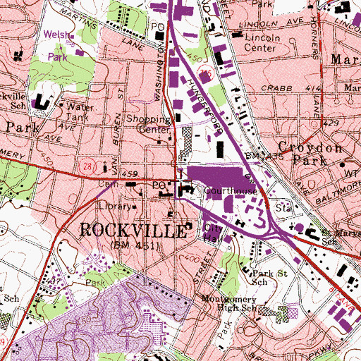 Topographic Map of Rockville, MD