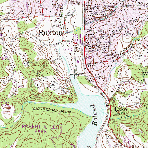 Topographic Map of Roland Run, MD