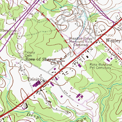 Topographic Map of Rose of Sharon Baptist Church, MD