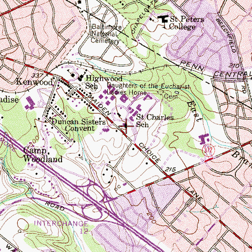 Topographic Map of Saint Charles School, MD