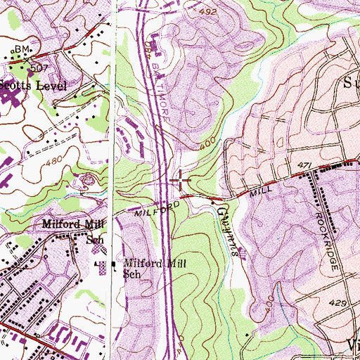 Topographic Map of Scotts Level Branch, MD