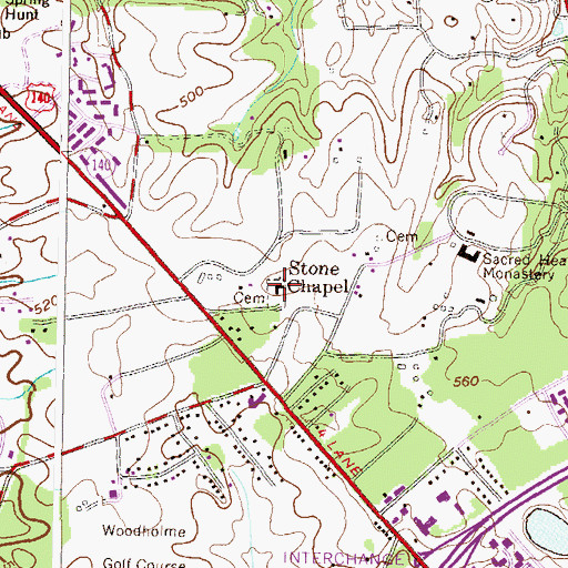 Topographic Map of Stone Chapel Methodist Church, MD