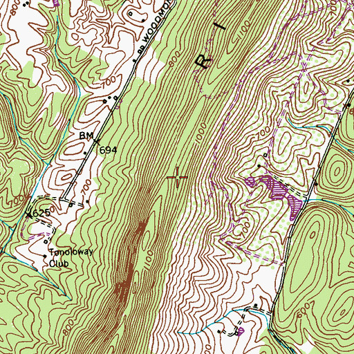 Topographic Map of Tonoloway Ridge, MD