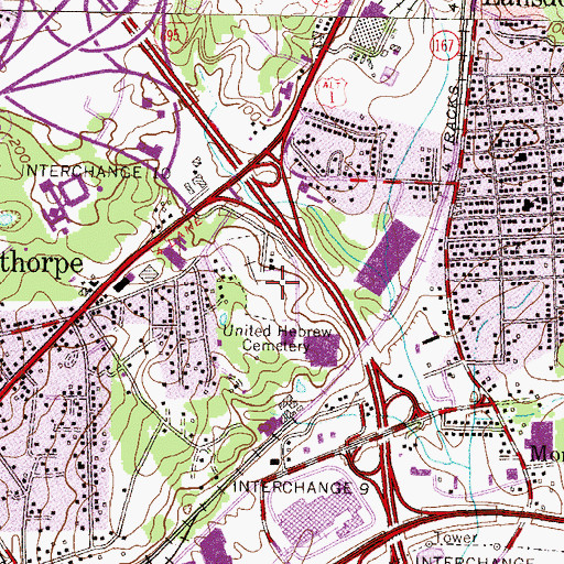 Topographic Map of United Hebrew Cemetery, MD