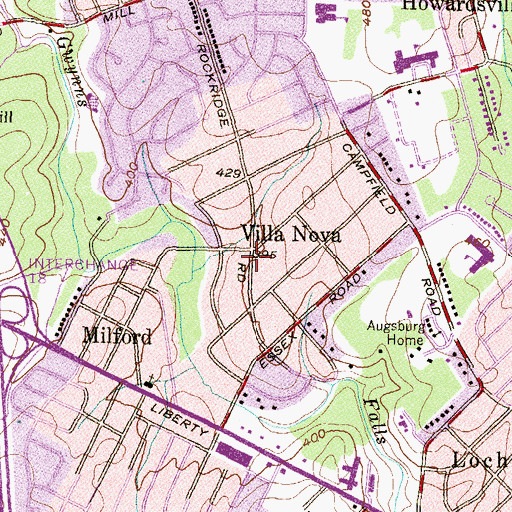 Topographic Map of Villa Nova, MD