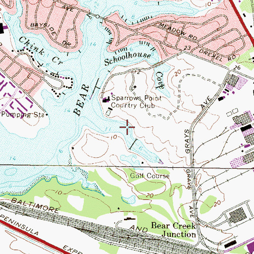 Topographic Map of Club Cove, MD