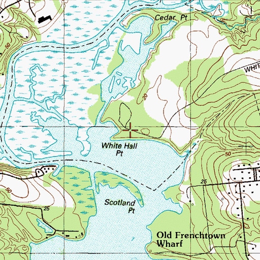 Topographic Map of White Hall Point, MD
