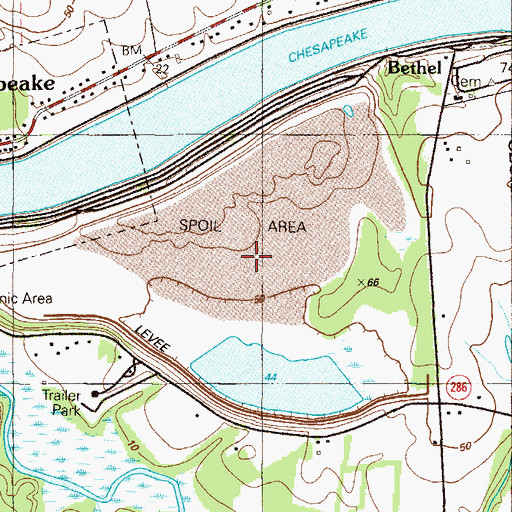 Topographic Map of Bethel Managed Hunting Area, MD