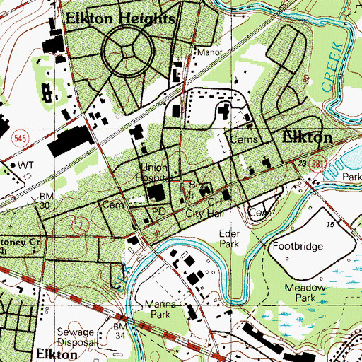 Topographic Map of Elkton Academy (historical), MD