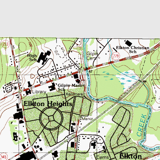 Topographic Map of Elkton Middle School, MD