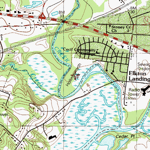 Topographic Map of Hollingsworth Park, MD