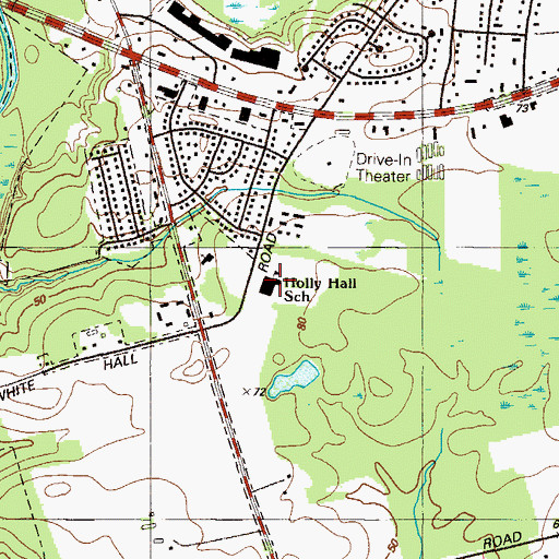Topographic Map of Holly Hall Elementary School, MD