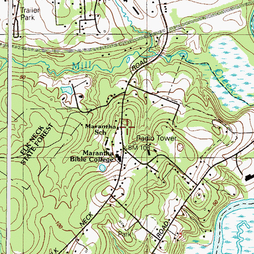 Topographic Map of Mill Creek School (historical), MD