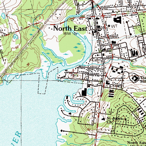Topographic Map of North East Community Park, MD