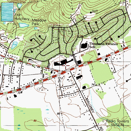 Topographic Map of Village at Elkton Shopping Center, MD
