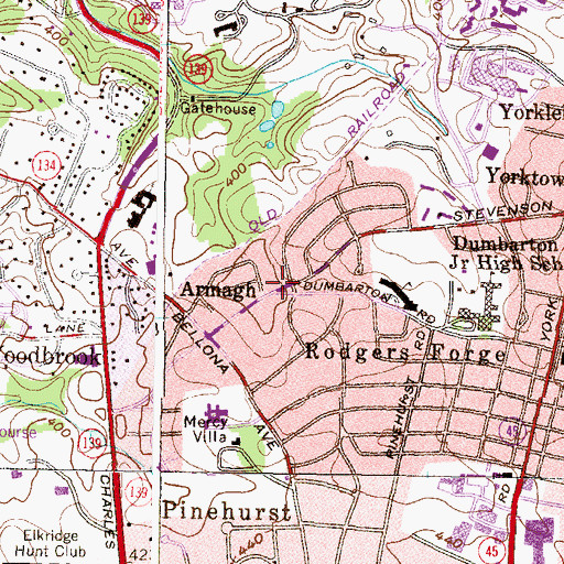 Topographic Map of Armagh, MD