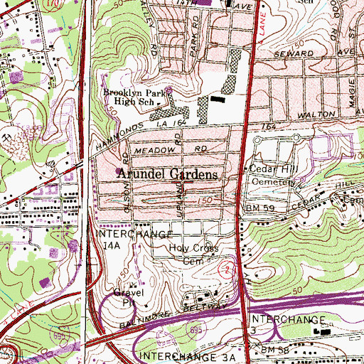 Topographic Map of Arundel Gardens, MD