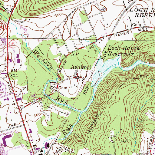 Topographic Map of Ashland, MD