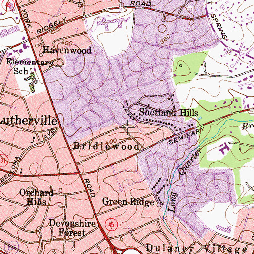 Topographic Map of Bridlewood, MD