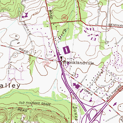 Topographic Map of Brooklandville, MD