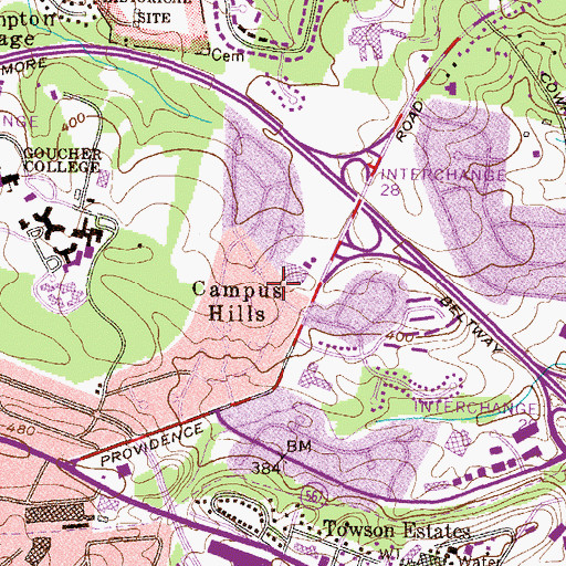 Topographic Map of Campus Hills, MD