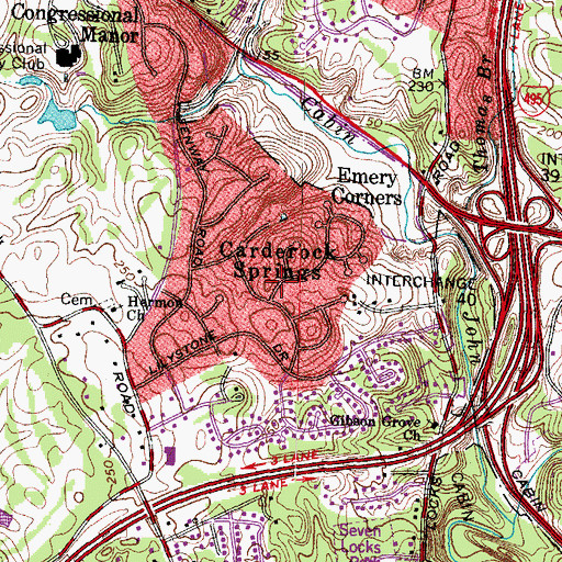 Topographic Map of Carderock Springs, MD