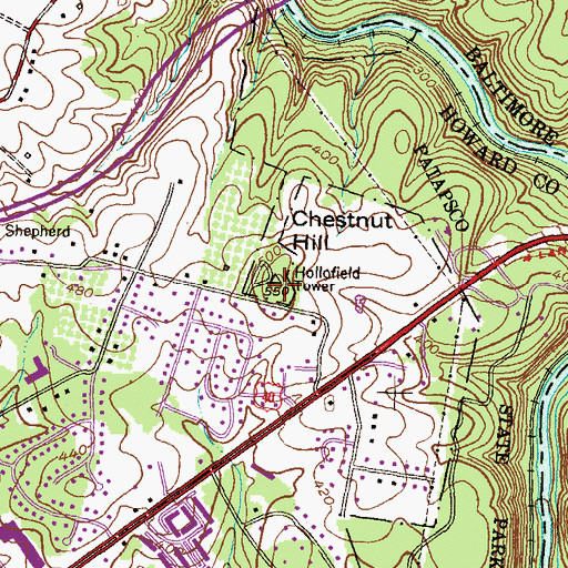 Topographic Map of Chestnut Hill, MD