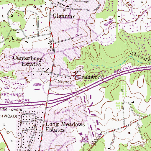 Topographic Map of Cranwood, MD