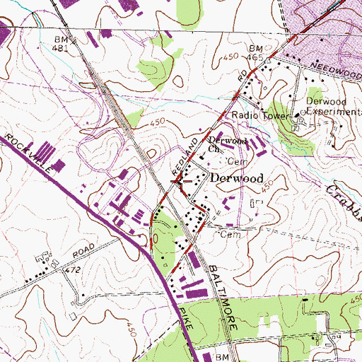 Topographic Map of Derwood, MD