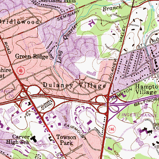 Topographic Map of Dulaney Village, MD