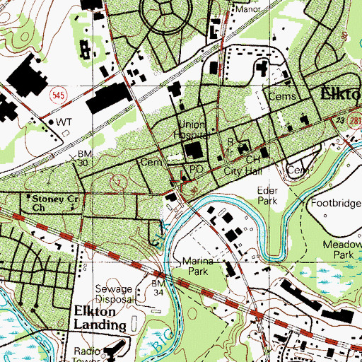 Topographic Map of Elkton, MD