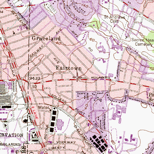 Topographic Map of Norwood Park, MD