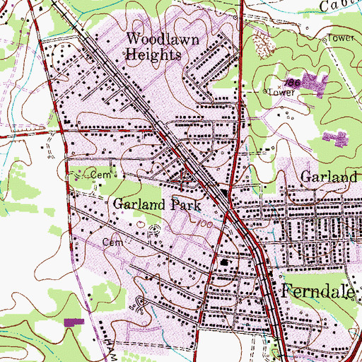 Topographic Map of Garland Park, MD