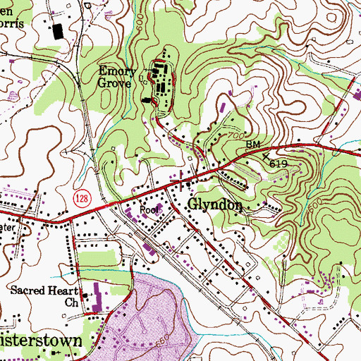 Topographic Map of Glyndon, MD