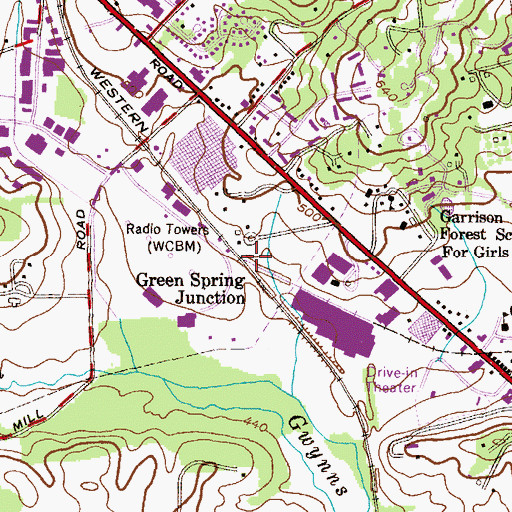 Topographic Map of Green Spring Junction, MD