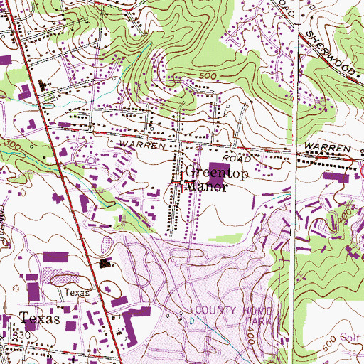 Topographic Map of Greentop Manor, MD