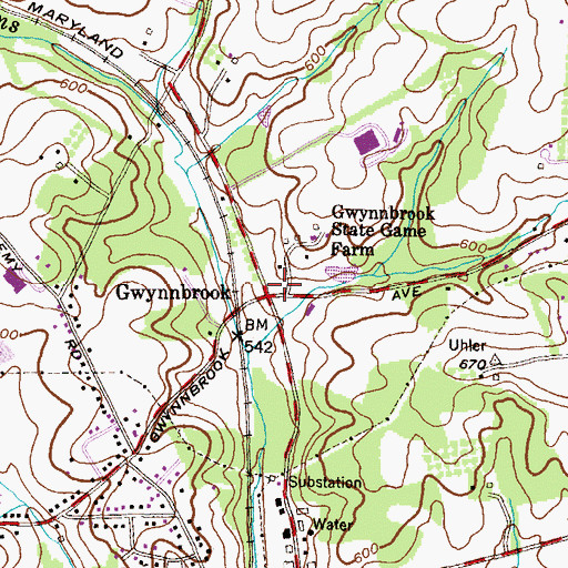 Topographic Map of Gwynnbrook, MD