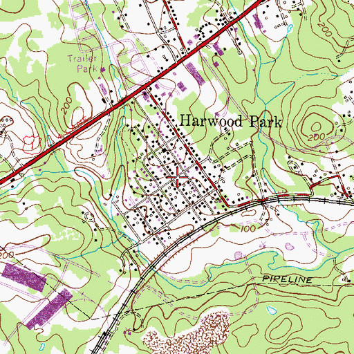 Topographic Map of Harwood Park, MD