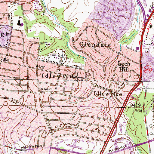 Topographic Map of Idlewylde, MD