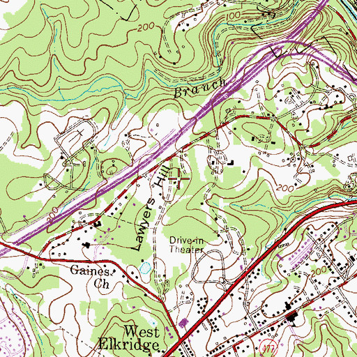 Topographic Map of Lawyers Hill, MD