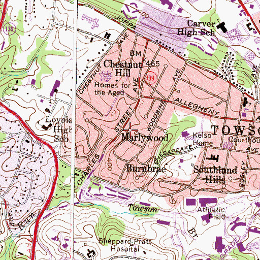Topographic Map of Marlywood, MD