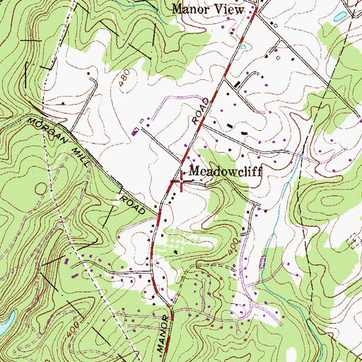 Topographic Map of Meadowcliff, MD