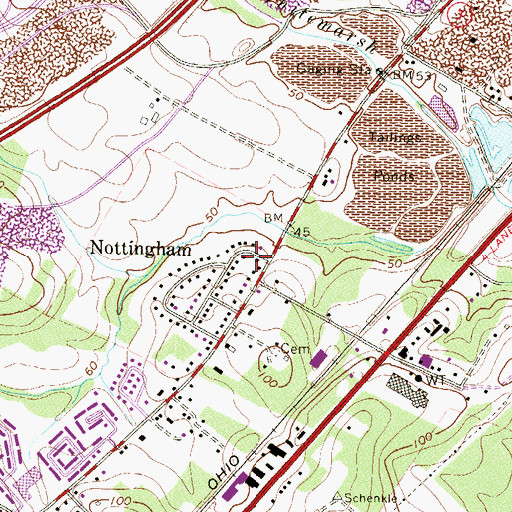 Topographic Map of Nottingham, MD