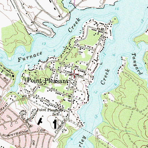 Topographic Map of Point Pleasant, MD
