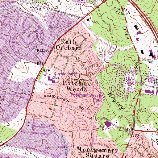 Topographic Map of Potomac Woods, MD