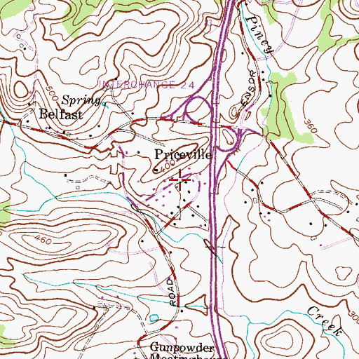 Topographic Map of Priceville, MD